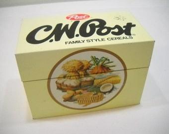 Vintage C.W. Post Tin Recipe Box Full Of Recipes FREE SHIPPING
