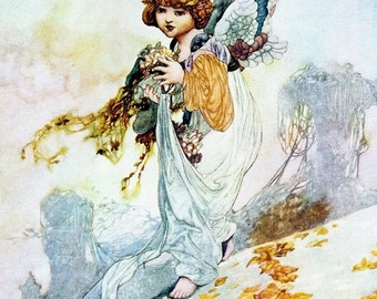 20% OFF Autumn Print by Charles Robinson, Angel, Fall Leaves, Vintage 1976 Children's Fairy Tale 8.75x11.75 Bookplate Art, FREE SHIPPING