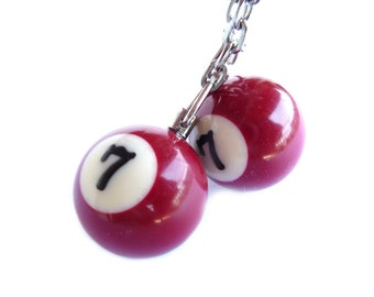Keychains, Key Chains, Keychain, Key Chain, Billiard, Billiard Ball, Ball 7, Red Ball, Red Ball Pendant, Billiard Pendant, Billiard Ball
