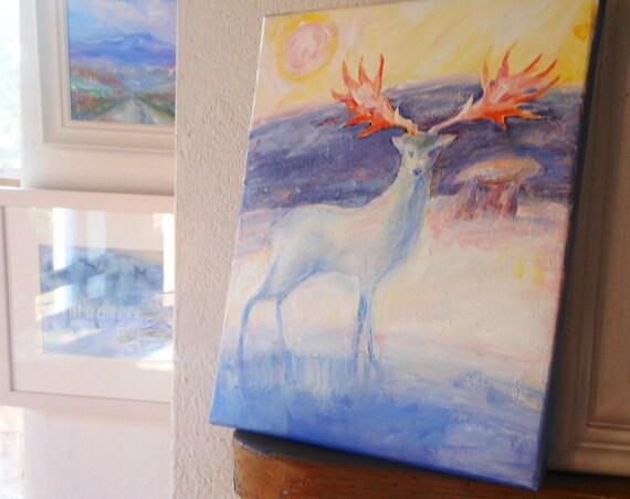 "Original art""The Irish Elk""  Acrylic on canvas, Prehistoric art, Mythological art, Dolmen painting"