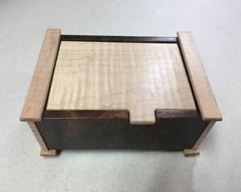 Handcrafted Figured Walnut & Tiger Maple  Jewelry/Keepsake Box