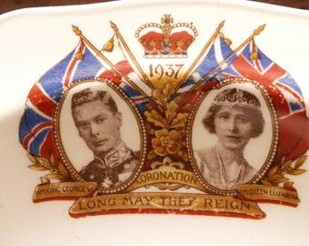 Vintage Commemorative Coronation Soup Bowl - King George & Queen Elizabeth 1937