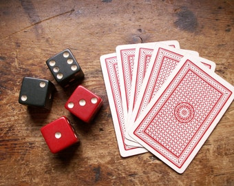Vintage Game Dice in Red or Green - Pairs of Gambling Dice
