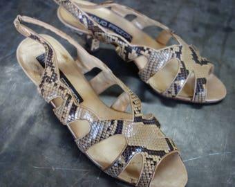 Maude Frizon Paris Python peeptoe heeled sandals 39 1/2, made in italy