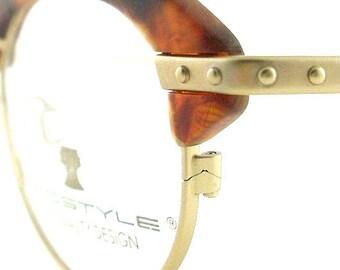 Vintage Club Glasses Eyeglasses Sunglasses New Frame Eyewear Gold Studs Tort
