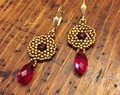 Beadwoven Garnet Swarovski crystal earrings, Swarovski earrings, garnet statement earrings, garnet earrings, ruby red earrings, red jewelry