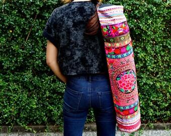 Boho Yoga Mat Bags, Yoga Embroidery Carrier, Ethnic Yoga Cover, Thai Yoga Bag, Pilates Mat Bag from Thailand, Gift for Yoga Lover