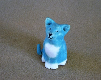 Amazing Blue Cat made of porcelain