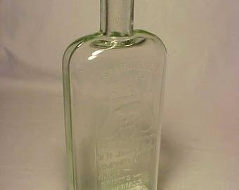 1897 W. H. Jones & Co. Boston, Mass, Cork Top Aqua Pint Strap Side Pre Prohibition Whiskey Bottle Flask No.3
