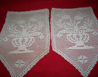 Vintage Hand Crocheted Doily- Set of 2