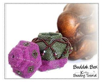 Geometric Peyote Stitch Beaded Hexagonal Boxes Pattern with lid & Beaded feet Beadweaving Instructions/Tutorial Beadwork Pattern BUDDAH BOX