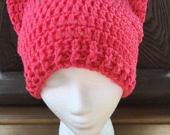 Pink cat hat - pussycat hat - cat beanie - pink cat beanie - free shipping - kitty ears - cat ears - womens hat - crochet beanie