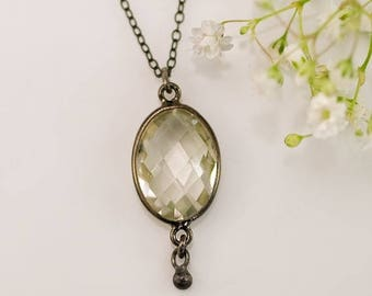 40 OFF - Green Amethyst Necklace - Bezel Set Necklace - Black Oxidized Silver - Gunmetal