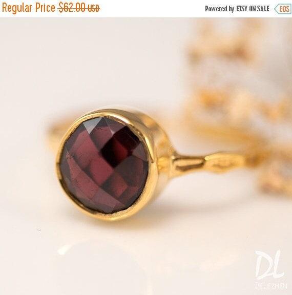 SALE - Gold Garnet Ring - January Birthstone Ring - Solitaire Ring - Gemstone Ring - Stackable Stone Ring - Gold Ring - Round Ring
