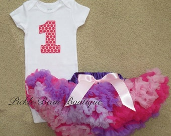 Hot Pink and Purple First Birthday Outfit, Purple Pink One Birthday Outfit, Pink One, 1st Birthday Girl Outfit, Girls First Birthday Outfit