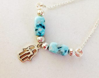 Judaica Gemstone and Hamsa Necklace, Jewish Jewelry