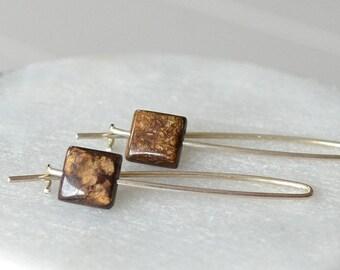Bronzite Earrings, Brown Stone Earrings, Threader Earrings, Square Stone Earring