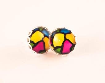 STUD Earrings, Post Earrings, Colorful Stud Earrings, Gift For Her, Spring Earrings, Summer Earrings, Funky Earrings, Rainbow Earrings. Gift