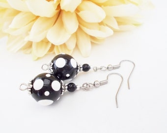 Black and White Earrings, Polka Dot Earrings, Lampwork Earrings, Glass Bead Jewelry, Clip On Earrings, Nickel Free, Mothers Day Gift for Her