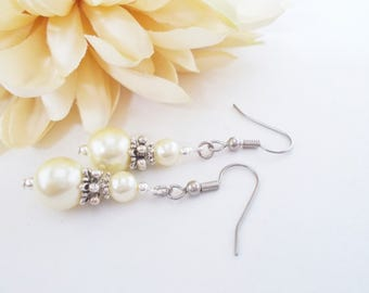 Pastel Yellow Bridesmaid Earrings, Pearl Drop Earrings, Bridesmaid Gift for Her, Flower Girl Jewelry, Sterling Silver, Clip On, Nickel Free