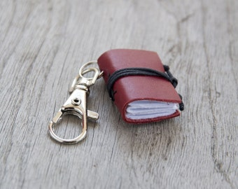 Book keychain, leather keychain, miniature book charm, book lover, literature jewelry, key accessory, women men keychain, coworker gift