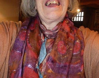 Hand Painted Silk Scarf  - Autumn colours, Gold Red purple, and  glitter gutta