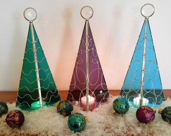 Holiday tree stained glass candle holder Aqua Purple TealGreen Christmas decor modern original art