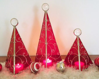 Red Holiday tree stained glass candle holder Christmas decor mantle decor 3 sizes