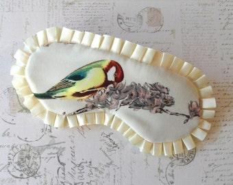 Luxury Bird Sleep Mask // Satin & Ruffle Eye Mask, Lavender
