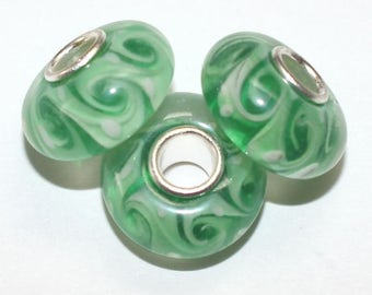 New! Murano Glass Lampwork Silver Plated Beads to fit European Style Charm Bracelet, Green with white & green swirls ES-141-Sp