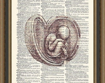 Leonardo Da Vinci baby in the womb sketch printed on a vintage dictionary page.  Gift for Pregnant Mum, Pregnancy Gift, Midwife Print, OBGYN