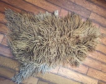Vintage Rustic Mongolian Real Fur Curly Sheepskin Hide Wool Pelt Rug
