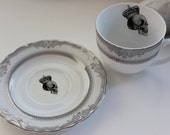 Silver Ornate  Skull Tea Cup and Saucer, NEW, Matching Dinnerware Available