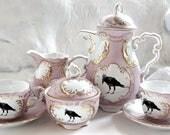 Blue or Pink and Gold Raven Tea Set, Bird Tea Cup, Raven Cup, Crow Tea Set, Bird Tea Set, Crow Teapot, Raven China, Crow China, Bird China