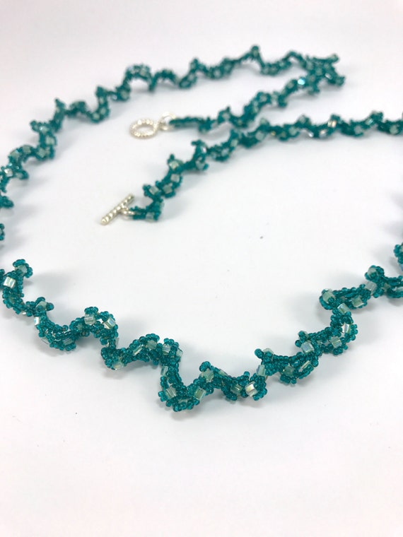 Long Green Teal Mint Necklace Beaded Necklace Bracelet, Long Casual Wavy Necklace, Beadweaving with Beads, Beaded Opera Necklace