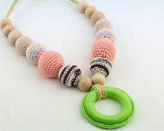 Pastel nursing necklace, crochet wooden teething necklace