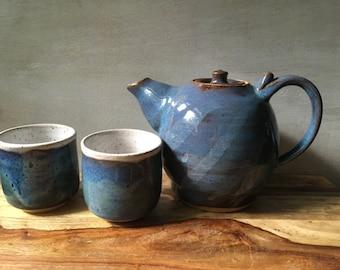 Stoneware Teapot and Cup Set, Handmade Ceramic Tea Service Set, Pottery Teapot and Teacups, Rustic Blue Teapot