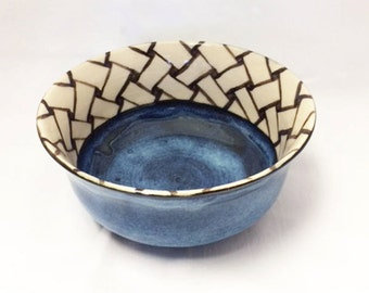 Blue Ceramic Bowl With Brown and White Weave Zentangle Design, Ceramic Soup Bowl, Cereal Bowl, Salad Bowl, Snack Bowl, Prep Bowl, Decorative