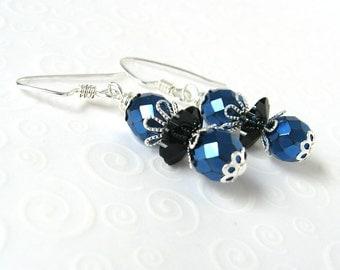 Royal Blue and Black Earrings, Dainty Beaded Earrings, Czech Glass Bead Earrings, Small Beaded Drop Earrings, Cobalt Blue and Black