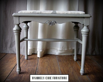 RESERVED~SHIPPINGUpholstered Vintage French Typography Writing Bench~Shipping isn't Included