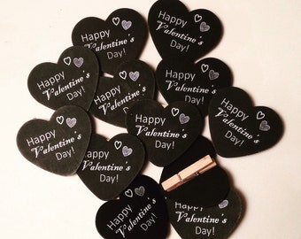 12 Happy Valentine's Day Heart Clips, Valentines Day Goodie Bags, Valentine's Day Party Favor, Kids Valentine, Kids Valentines Day Gift Bags
