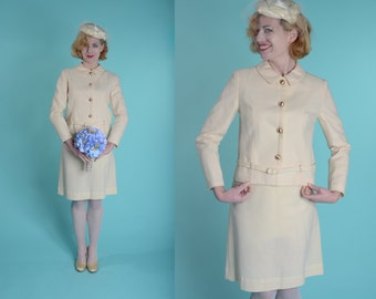 Vintage 1960s Wool Wedding Suit - 1967 Winter White Jackie Kennedy - Bridal Fashions Size Small