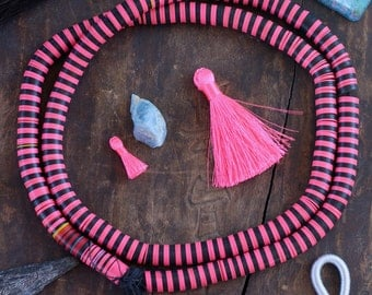 Pink Zebra : African Vinyl Record Beads, Statement Necklace, Neon Pink, Black, 10x.5mm Heishi Discs, Bohemian Tribal Jewelry Making Supplies