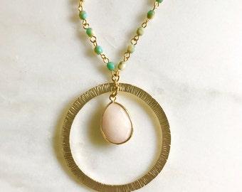 Unique Pendant Necklace. Peach and Aqua Circle Beaded Boho Necklace. Necklace. Unique Aqua Gold Necklace. Gold Necklace.  Boho Style. Gift.