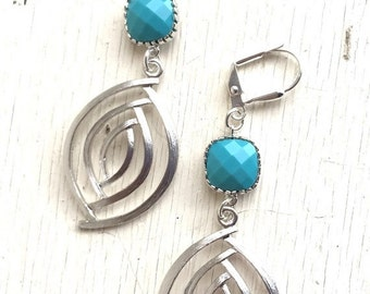 Turquoise and Silver Dangle Earrings. Turquoise Earrings. Turquoise Jewelry. Earrings. Dangle Earrings. Bridesmaids Earrings. Gift.