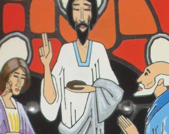 Vintage picture of the sacrament enameled. 60s Last Supper of Christ with the twelve apostles.