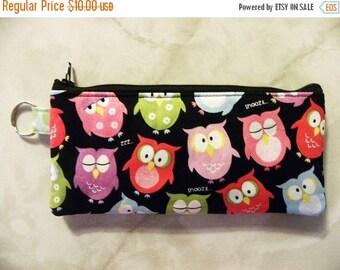 Owls Pencil Case-Sleepy Owls fabric