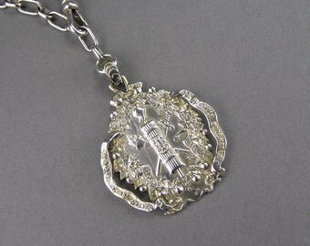 Antique Fasces Pendant, 1871, Belgian Medal, Weapons, Ivy, Sterling Silver Necklace, Edwardian Victorian, Hippie, Power to the People