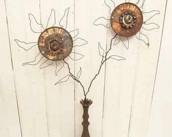 Iron and Metal Salvage Flower Vase Assemblage - Rusty Wire - Primitive Industrial Art