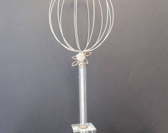 Wire Hatstand on Repurposed Vintage Decorative Clear Glass Lamp Base